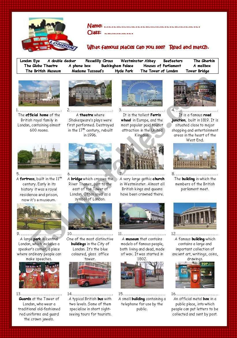 Once Again Culture Issue This Time Concerning London Read And Match Activity With Key Editable London Activities English Lessons English Activities [ 1169 x 821 Pixel ]