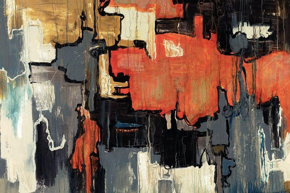 Orange Blue Black Portrait Abstract Canvas Wall Art Large Picture Prints