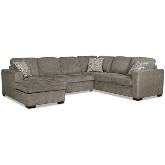 Izzy 3 Piece Chenille Left Facing Sleeper Sectional Pewter