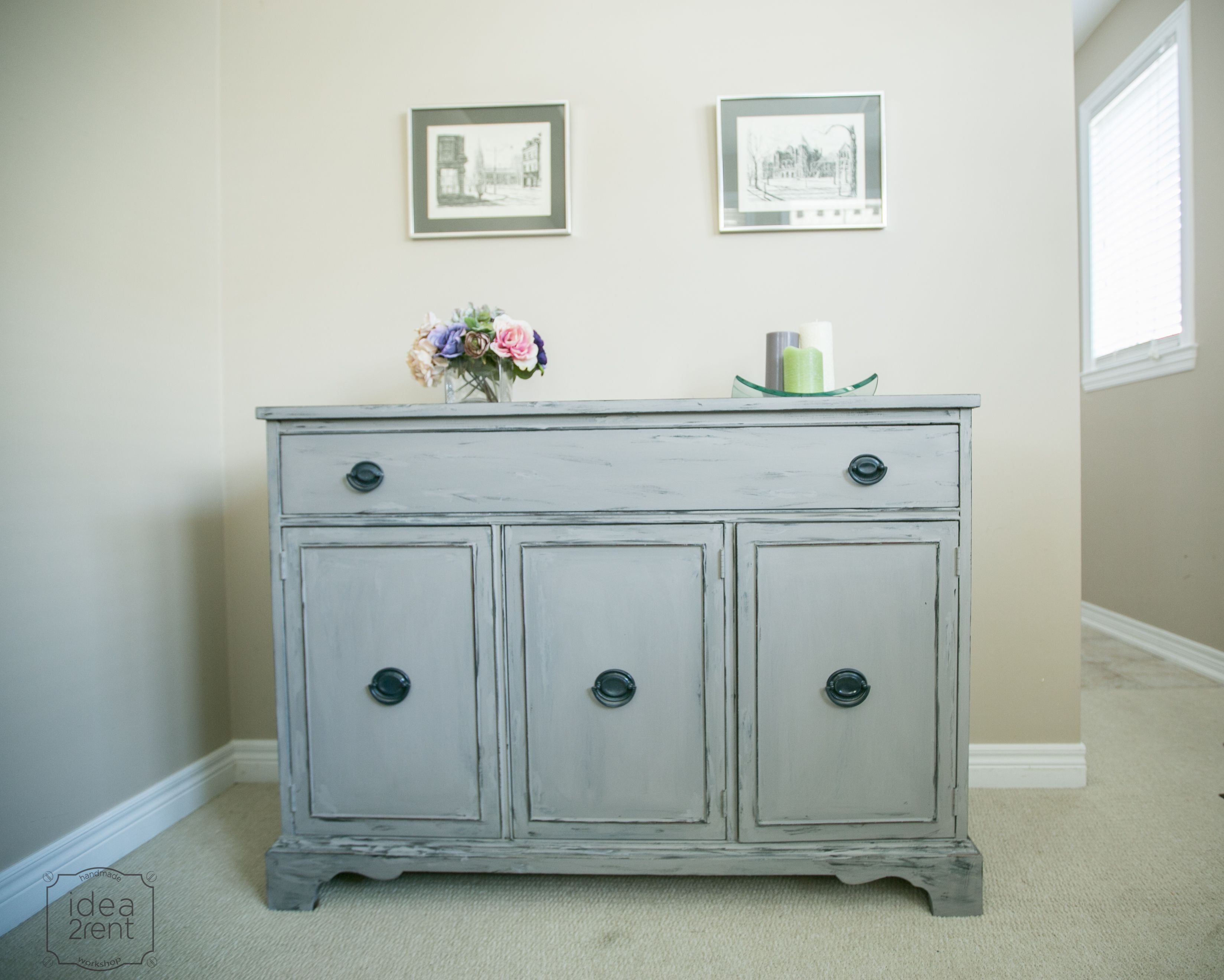 Beautiful Chalk Painted Sideboard, Artifact Colour Of Americana Decor, Decoart, Gray  Sideboard, Distressed