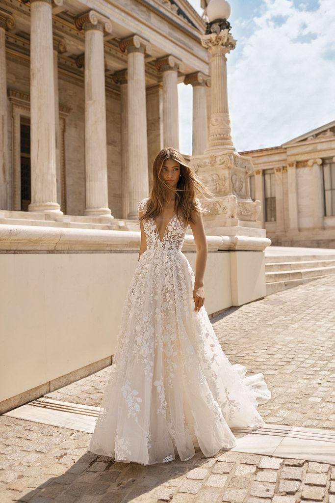Berta 19 112 Bloomfeld Gaun Pesta Perkawinan Gaun Pengantin Brokat Gaun Pengantin Pendek