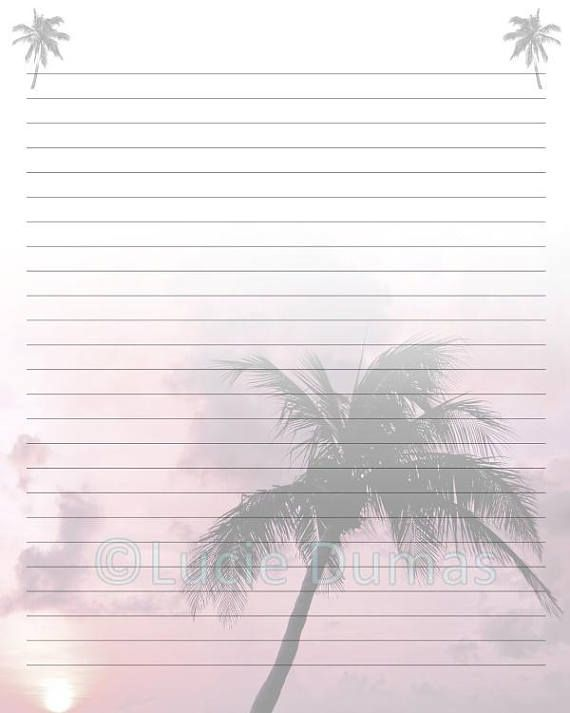 Digital Printable Journal writing lined Page Photo 24 Palm