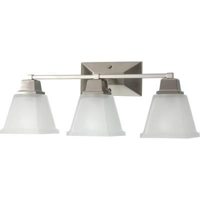 Progress Lighting North Park Collection 3Light Brushed Nickel Impressive Home Depot Bathroom Light Fixtures Inspiration Design