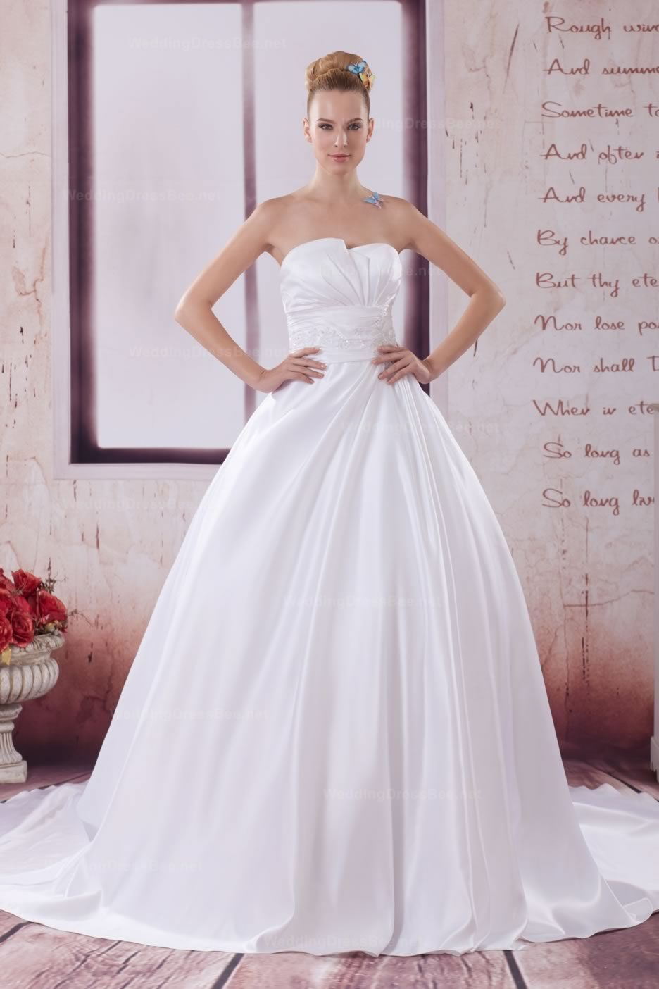 Fashion strapless empire waist satin gown with fine appliques
