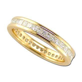0.99 Carat Princess Diamond 14K Yellow Gold Anniversary Wedding Band Rings 2.37g: Ring Size: Sizable