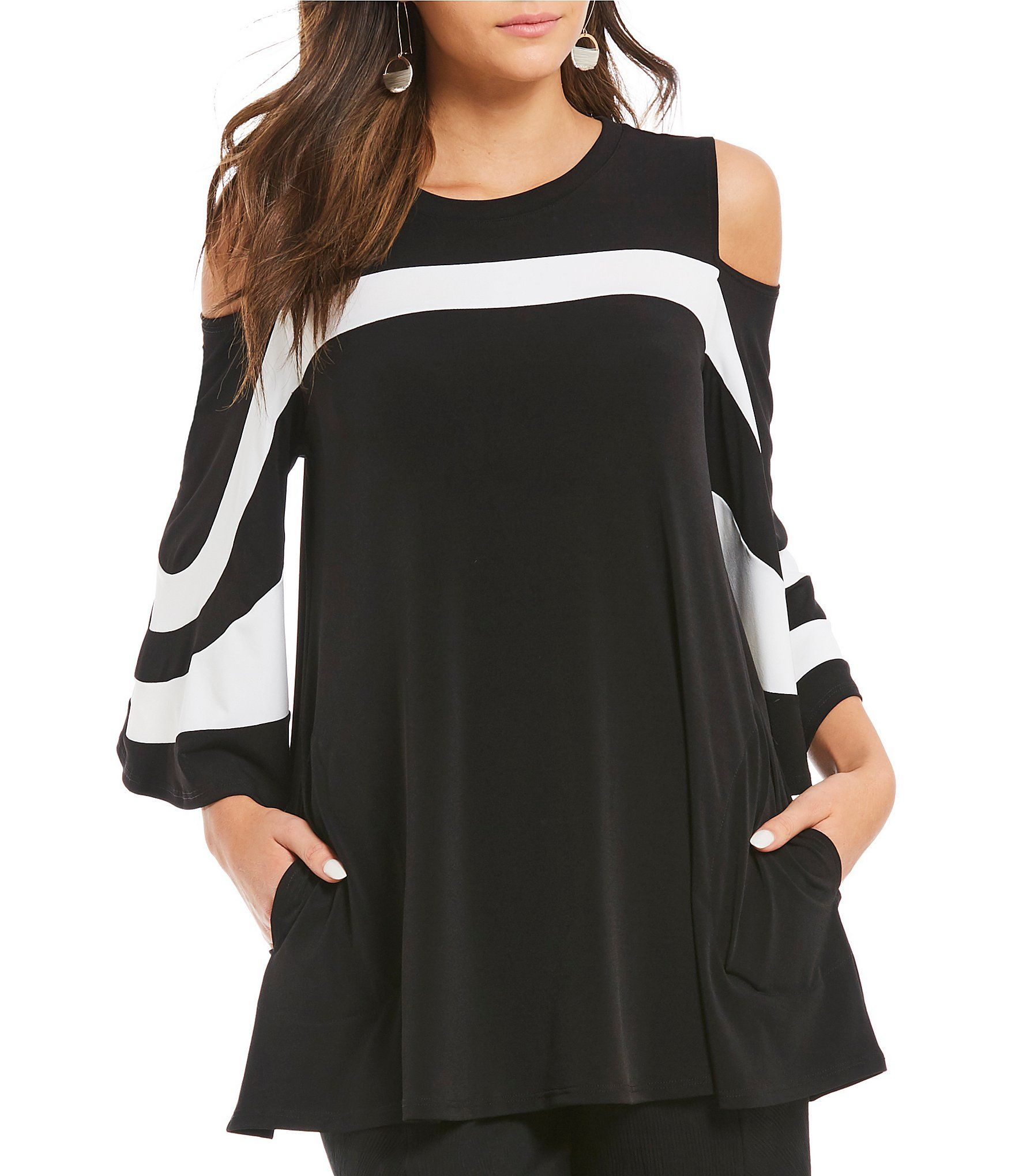 d46886fb336 IC Collection Open Shoulder Trim Platter Top | My Style | Tunic tops ...