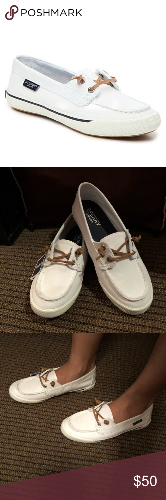 8ad76027d2a2 Sperry Top-Spider Lounge Away White Boat Shoes New with department store  tags! Size