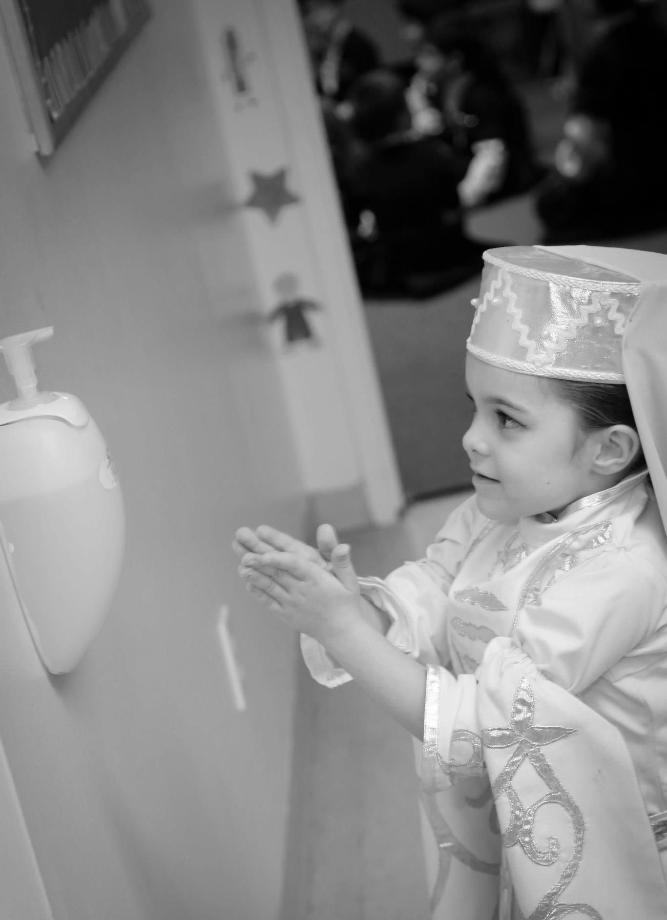 Circassian Child Washing Her Hands Hand Sanitizer Hygiene