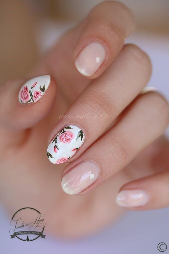 29 Beautiful Wedding Nail Art Ideas With Images Rose Nail Art Rose Nails Floral Nails