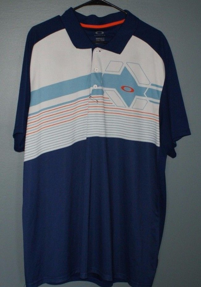 Oakley blue white and orange regular fit polo shirt mens size XXL #Oakley #PoloRugby