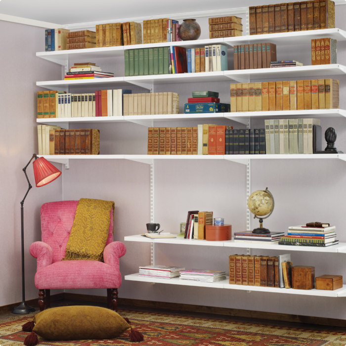 Living Room With Elfa Solid Shelving From Is A Beautiful Way