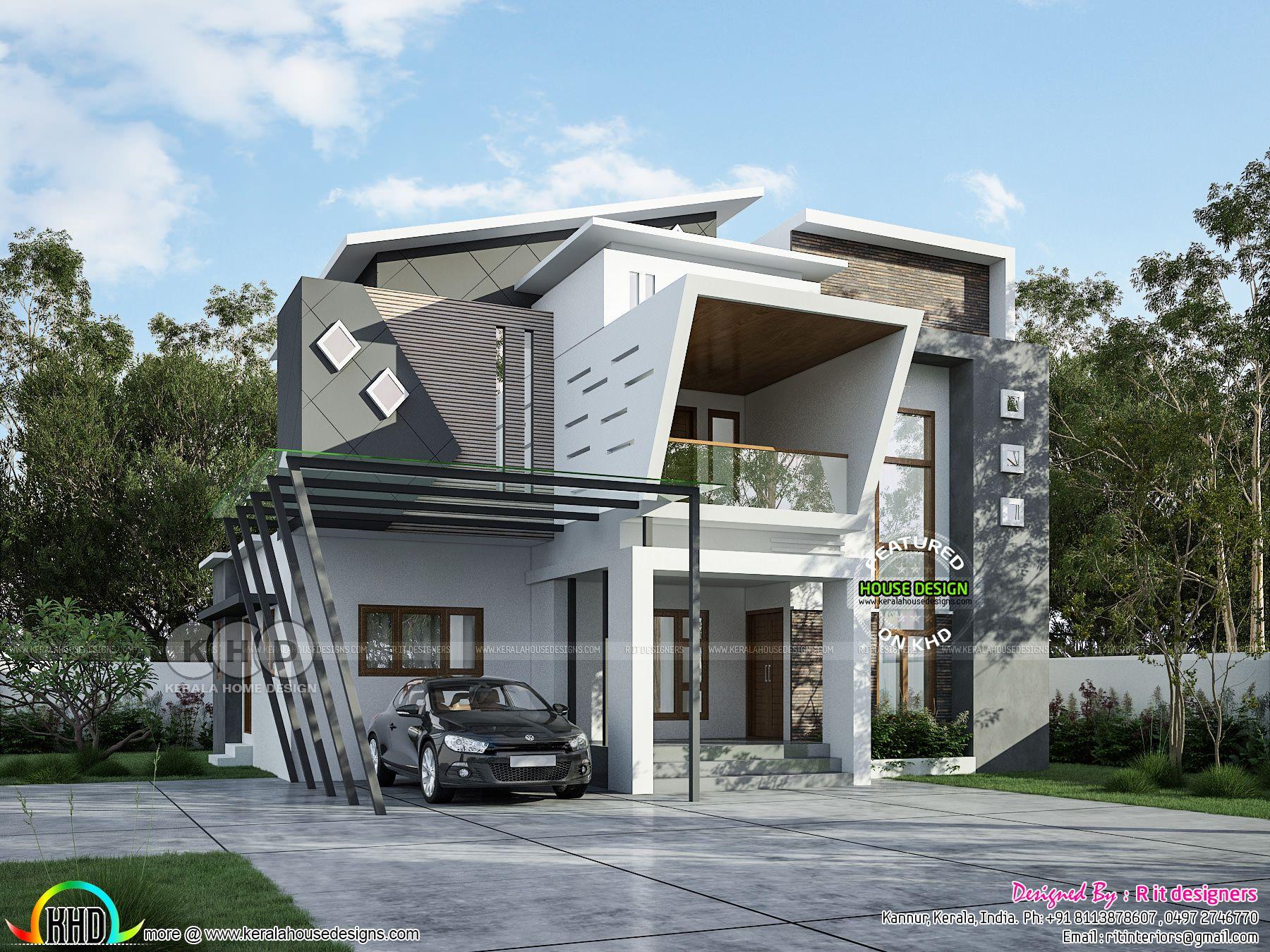 3068 Square Feet 3 Bhk Ultra Modern Home Kerala House Design Duplex House Design Contemporary House Design