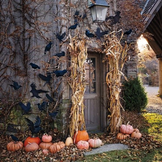 Cute and cozy fall and halloween porch decor ideas for Pinterest halloween outdoor decorations