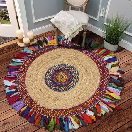Photo of LR Home Natural Jute 4 Feet Round Hand Braided Bohemian Chindi Multi Colorful Indoor Rag Rug – Walmart.com