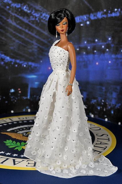 48-7. Michelle Obama's Inauguration Dress for Silkstones/FR dolls | Flickr - Photo Sharing!