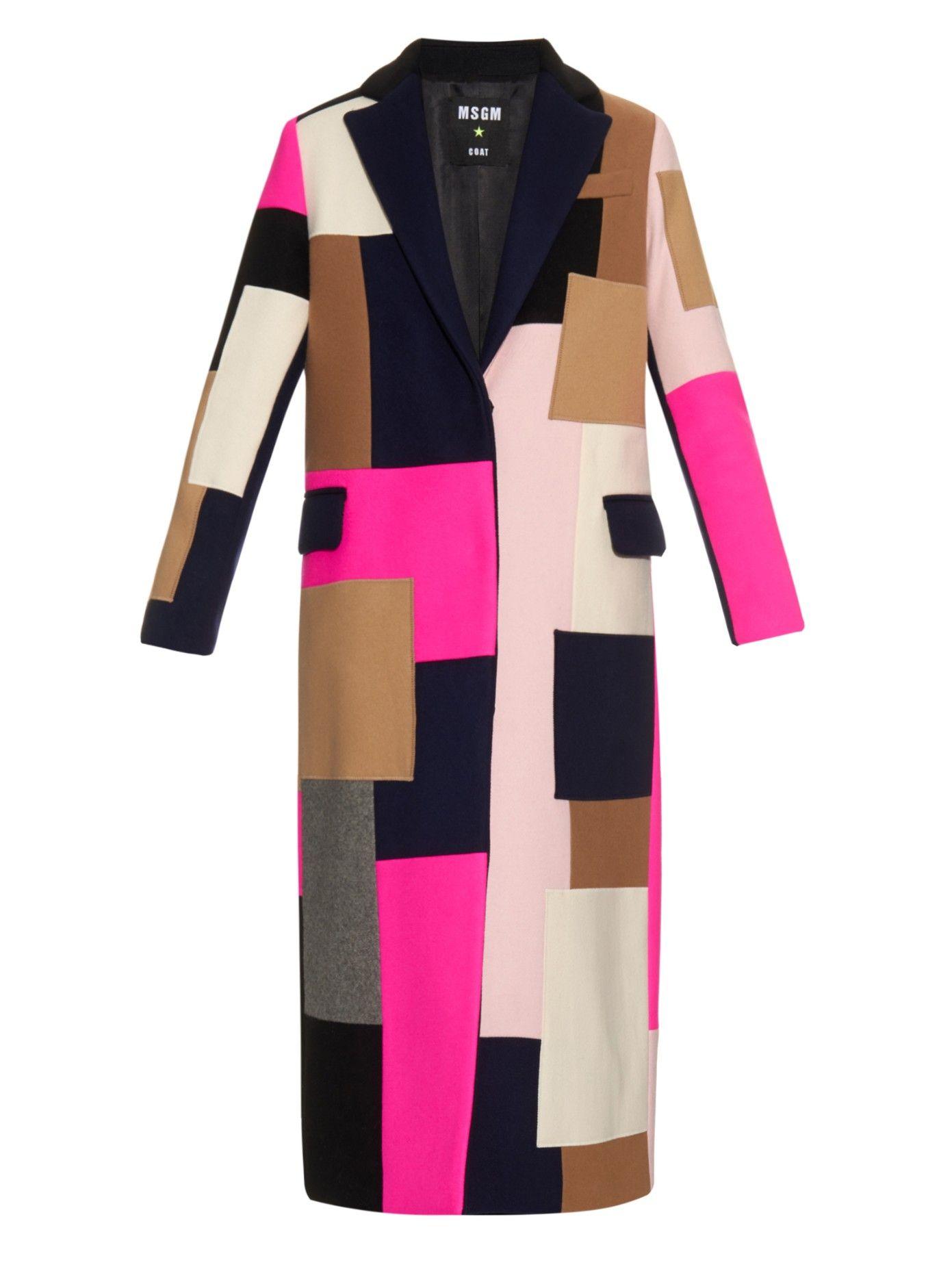 MSGM Patchwork wool-blend coat