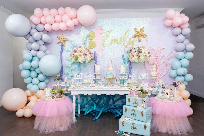Sparkles Under The Sea Party Kara S Party Ideas Sea Birthday Party Decorations Mermaid Party Decorations Mermaid Theme Birthday