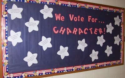 We Vote for Character A great November Bulletin board idea to teach Character E  We Vote for Character A great November Bulletin board idea to teach Character E