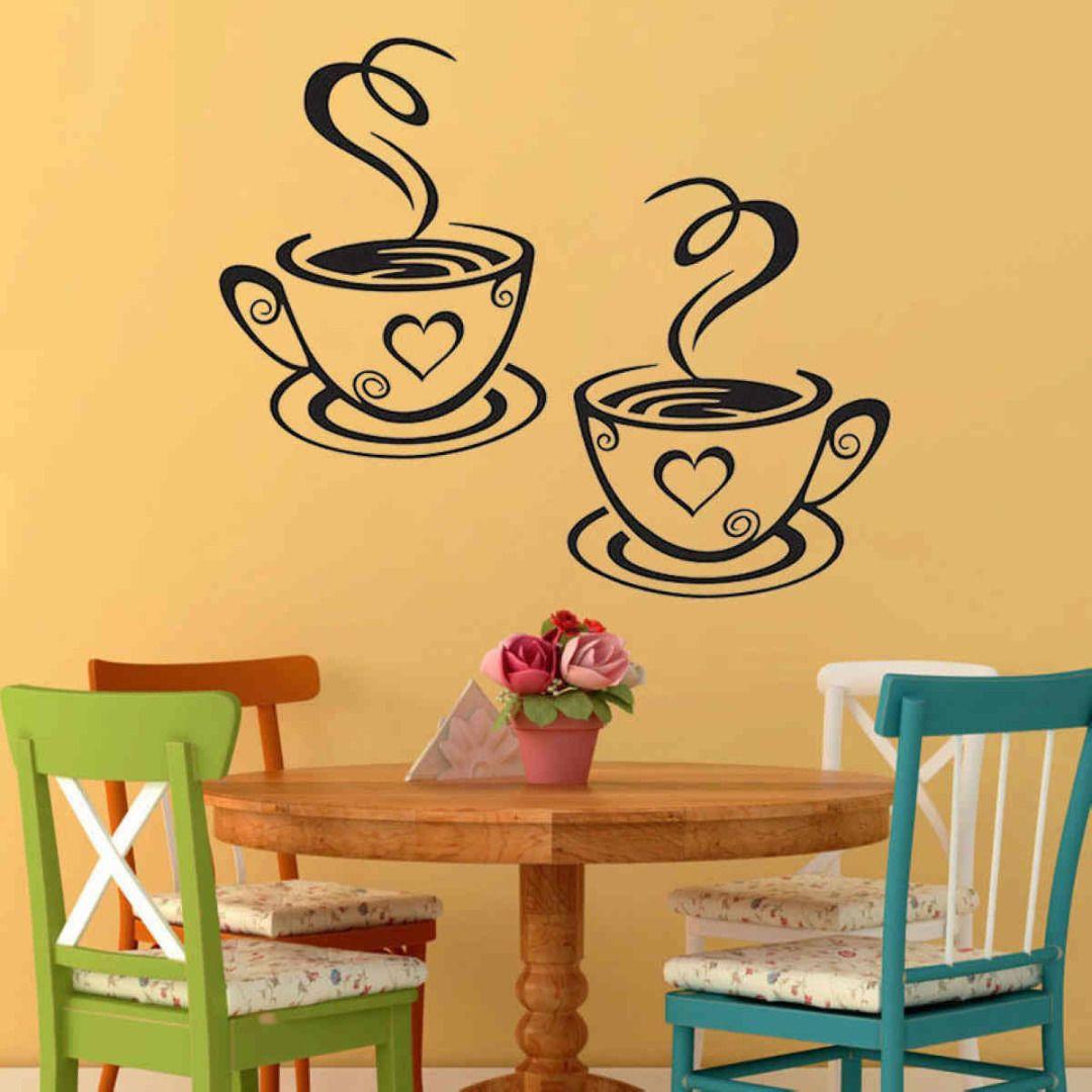 Coffee cups cafe tea wall stickers art vinyl decal pub restaurant