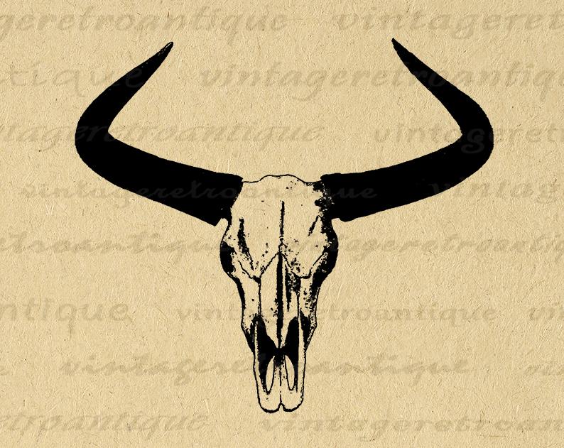 Western Horns Graphic Digital Printable Cow Skull Download Bull Image Antique Clip Art Printable Digital Image Art Vinta Bull Images Bull Horns Cow Skull