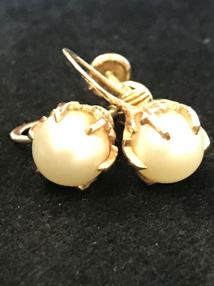 09ecfa346 Vintage Signed 10K Gold Filled Real Pearl Screw Back Earrings  #earringspearls