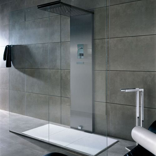 douche en inox avec systeme de pr chauffage auto double. Black Bedroom Furniture Sets. Home Design Ideas