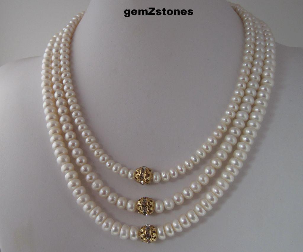 Beautiful White Lotus Cultured Pearl And Swarovski Crystal Triple ...