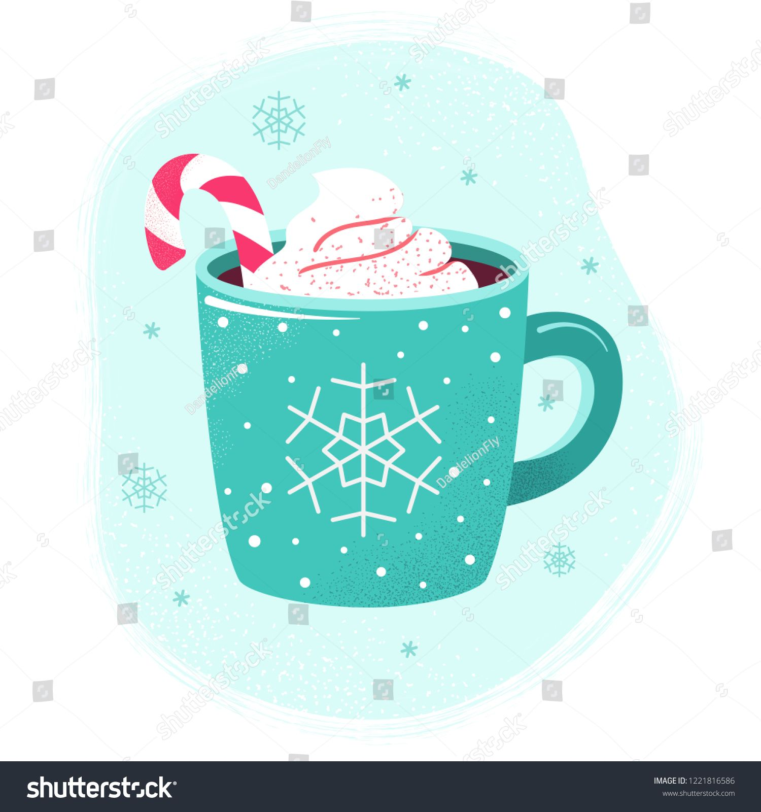 Winter cup of hot chocolate or hot cocoa with marshmallows and snowflake ornament. Blue mug with coffee, christmas candy and cream. Flat design elements. Winter season illustration. ,