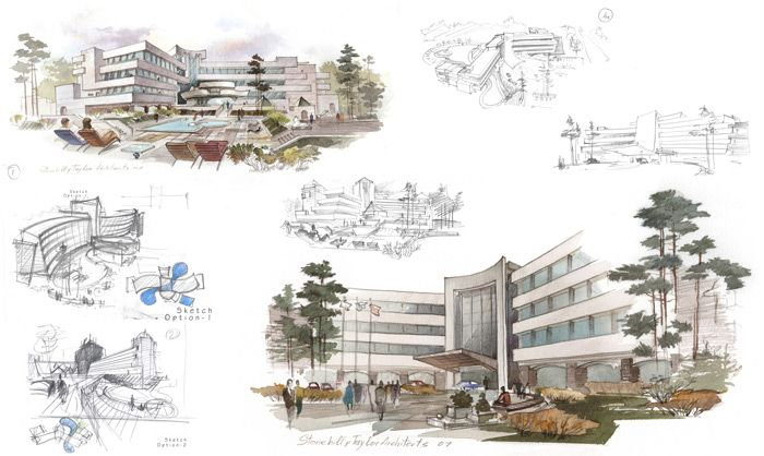 hotel architectural design conceptual sketches pencil