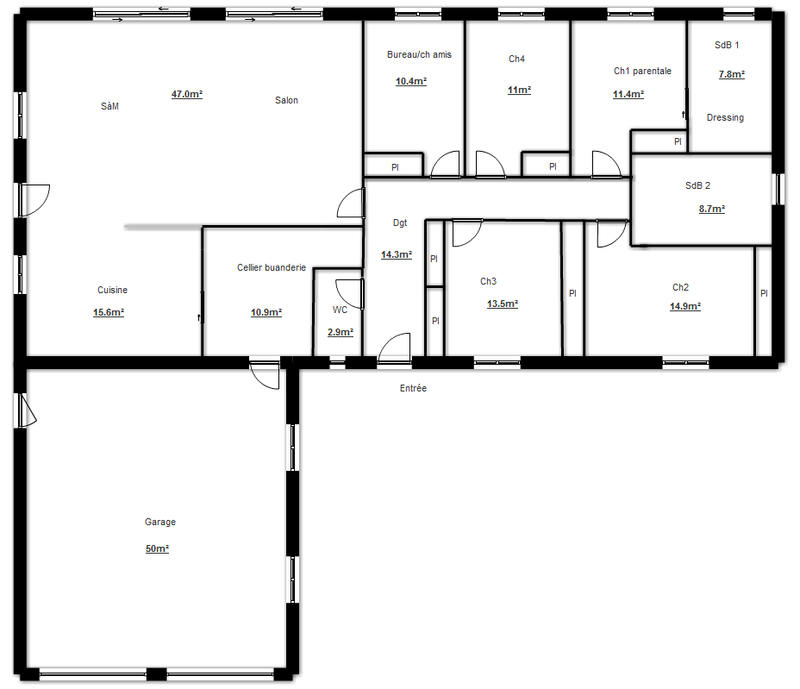 Plan de maison plain pied en l plan plein pied maison for Construction maison plain pied