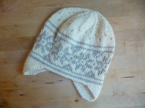 ccff59758f6 Womens Winter Hat - Wool Alpaca Hat with Earflaps - Scandinavian Star Design  - White and Grey - Great Gift Norwegian hand knit hat in wool and