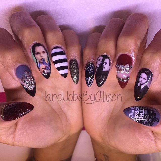 Mulpix The Addams Family Sbyallison Nails Nailart Nails2inspire Nailpolish
