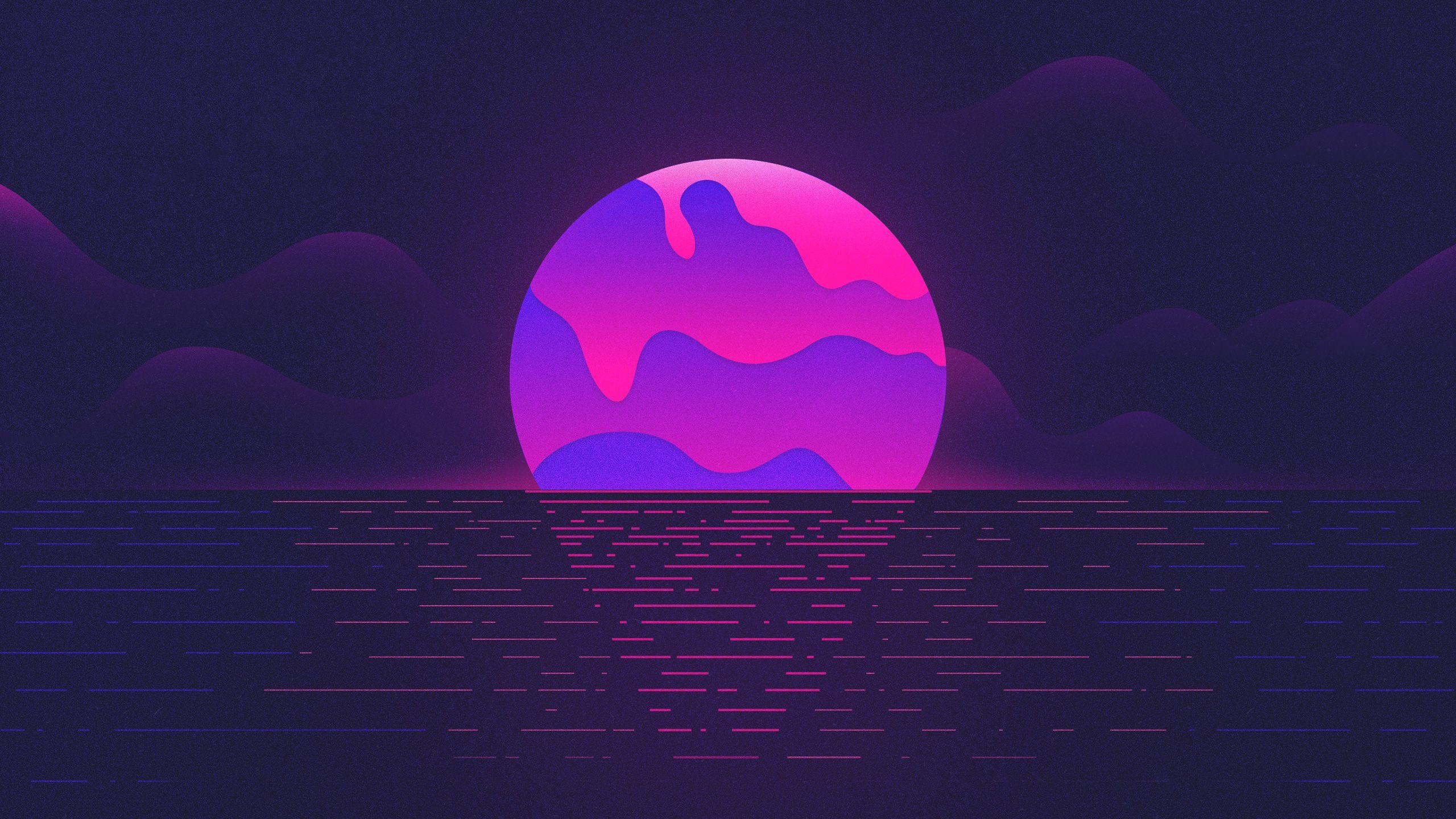 Vaporwave Sunset 2560x1440 Vaporwave Wallpaper Neon Wallpaper Hd Wallpaper
