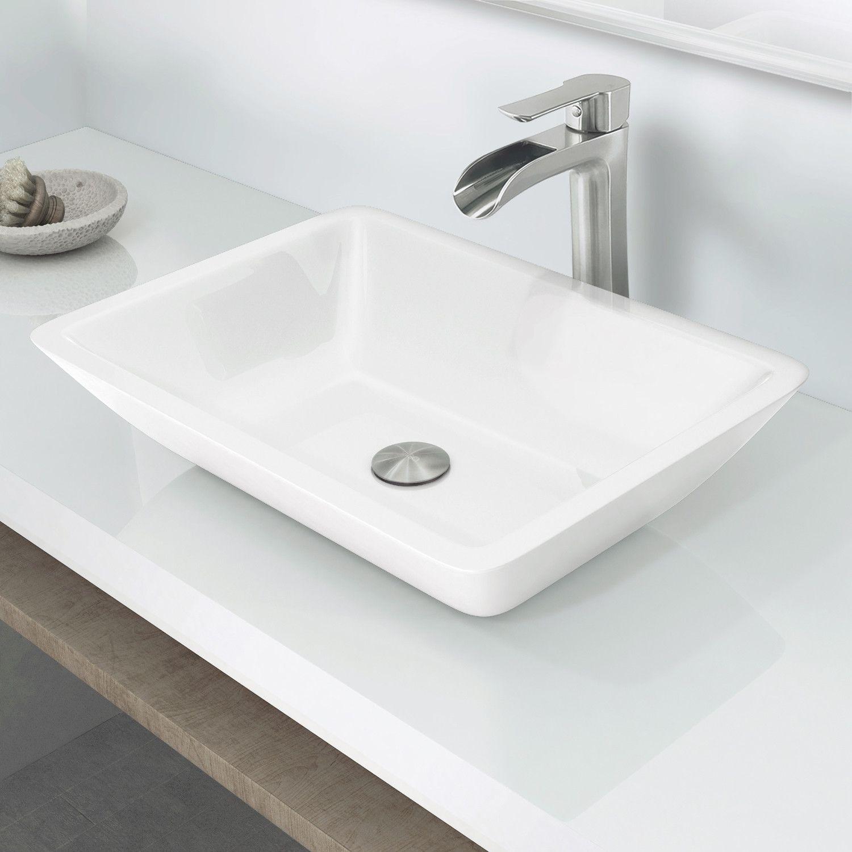 Flat Edged Phoenix Stone Rectangular Vessel Bathroom Sink Sink