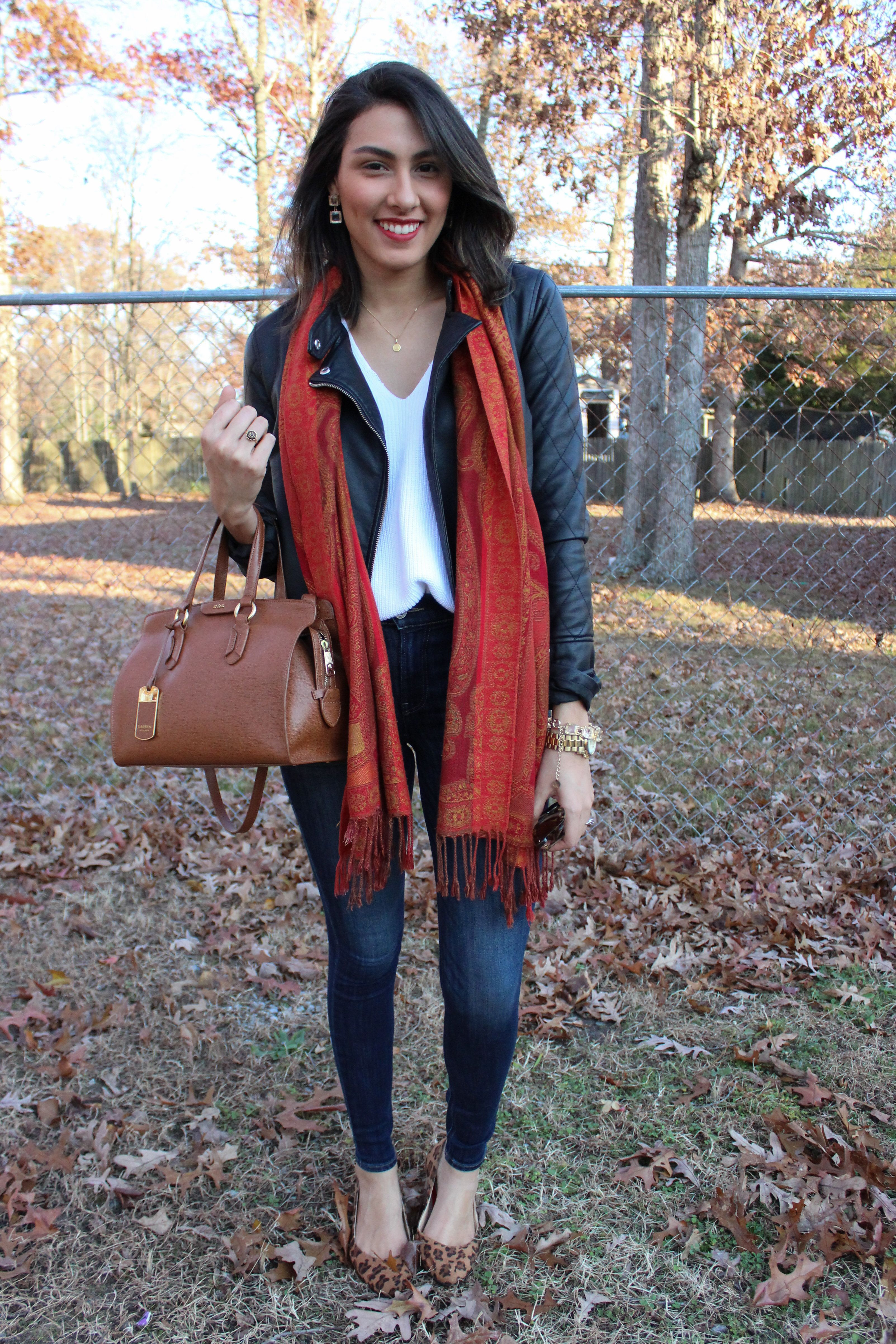 Women's Black Leather Jacket, White Knit Oversized Sweater, Navy Skinny  Jeans, Brown Leopard Suede Ballerina Shoes