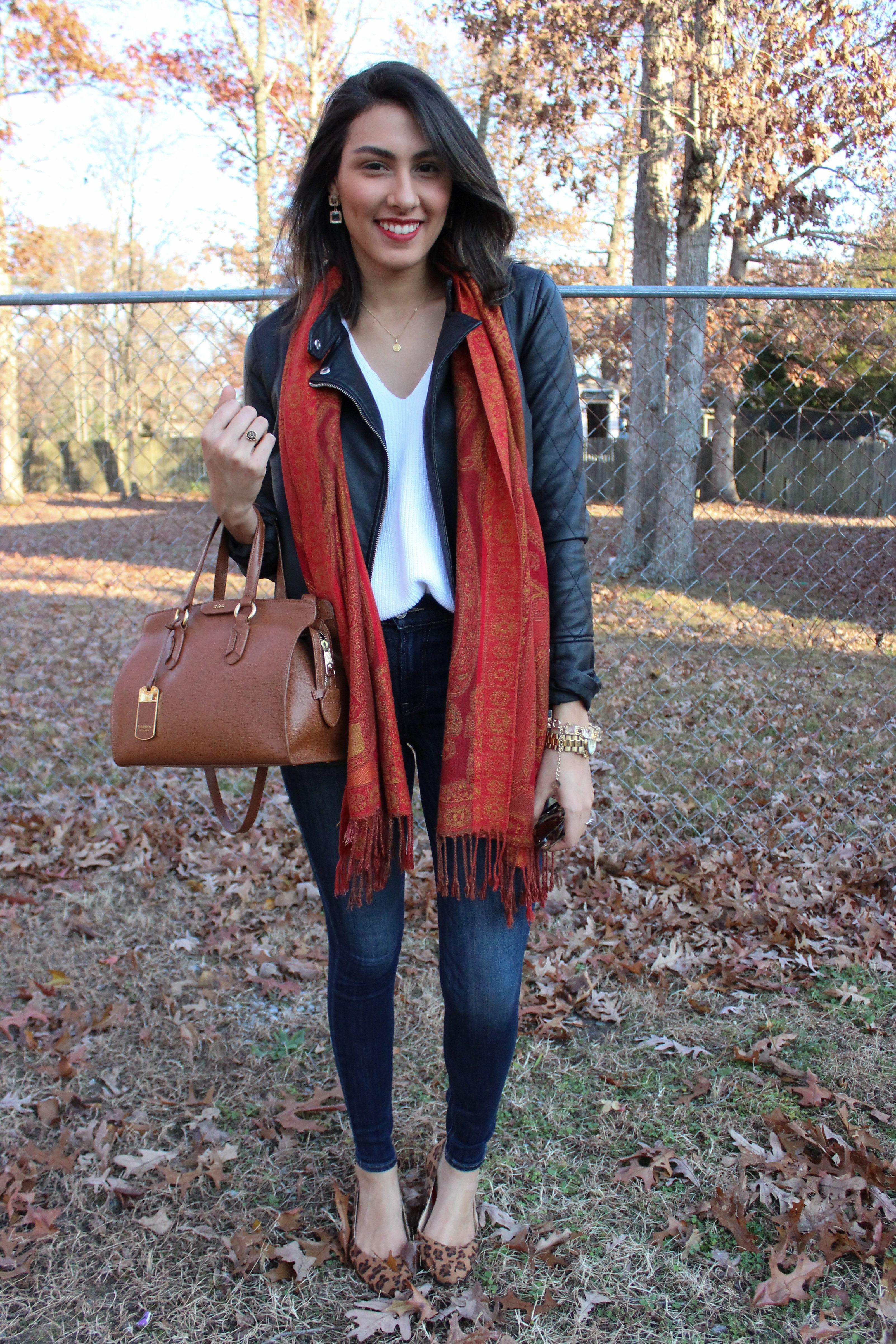 Women's Black Leather Jacket, White Knit Oversized Sweater, Navy ...