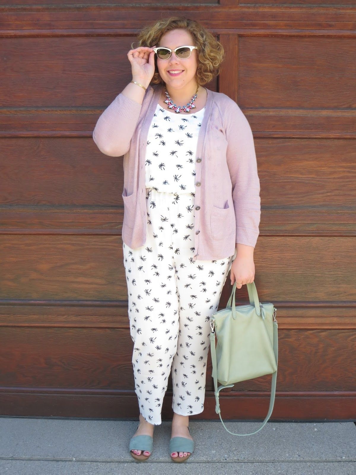 Jumpsuit by Madewell, with pastel cardigan