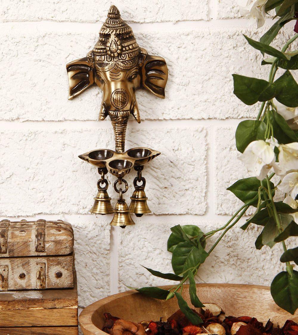 Brass Ganesha Wall Hanging Diya With Bells India Home