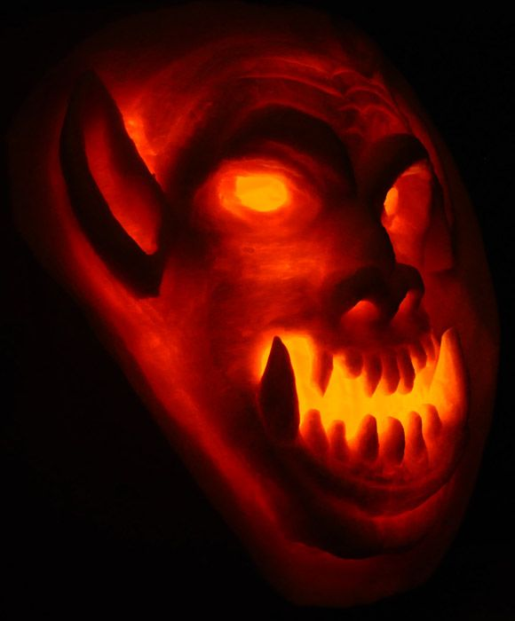 Pumpkin Carving World Of Warcraft Orc Sculpt 2009 Pumpkin