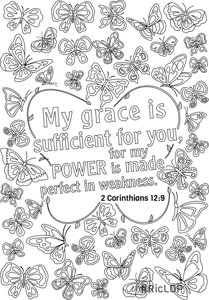 Grace Mercy Scripture Doodle Coloring Page Bible Coloring