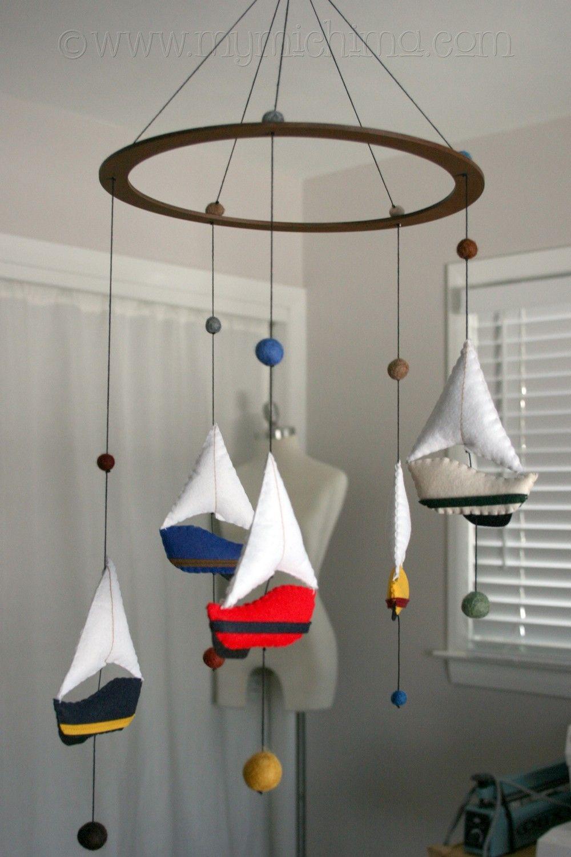 Make Hanging Mobile Sail Away Decorative Stuffed Felt Sailboats