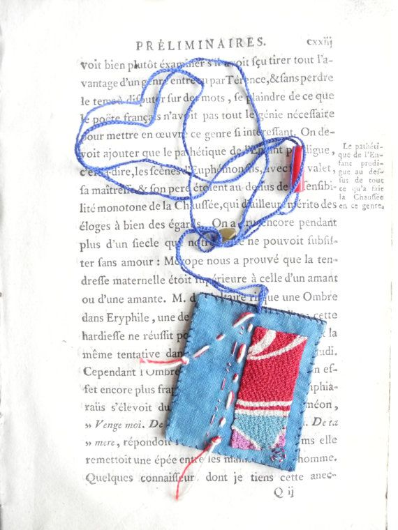 Hand stitched amulet necklace semamori indigo by giovabrusa