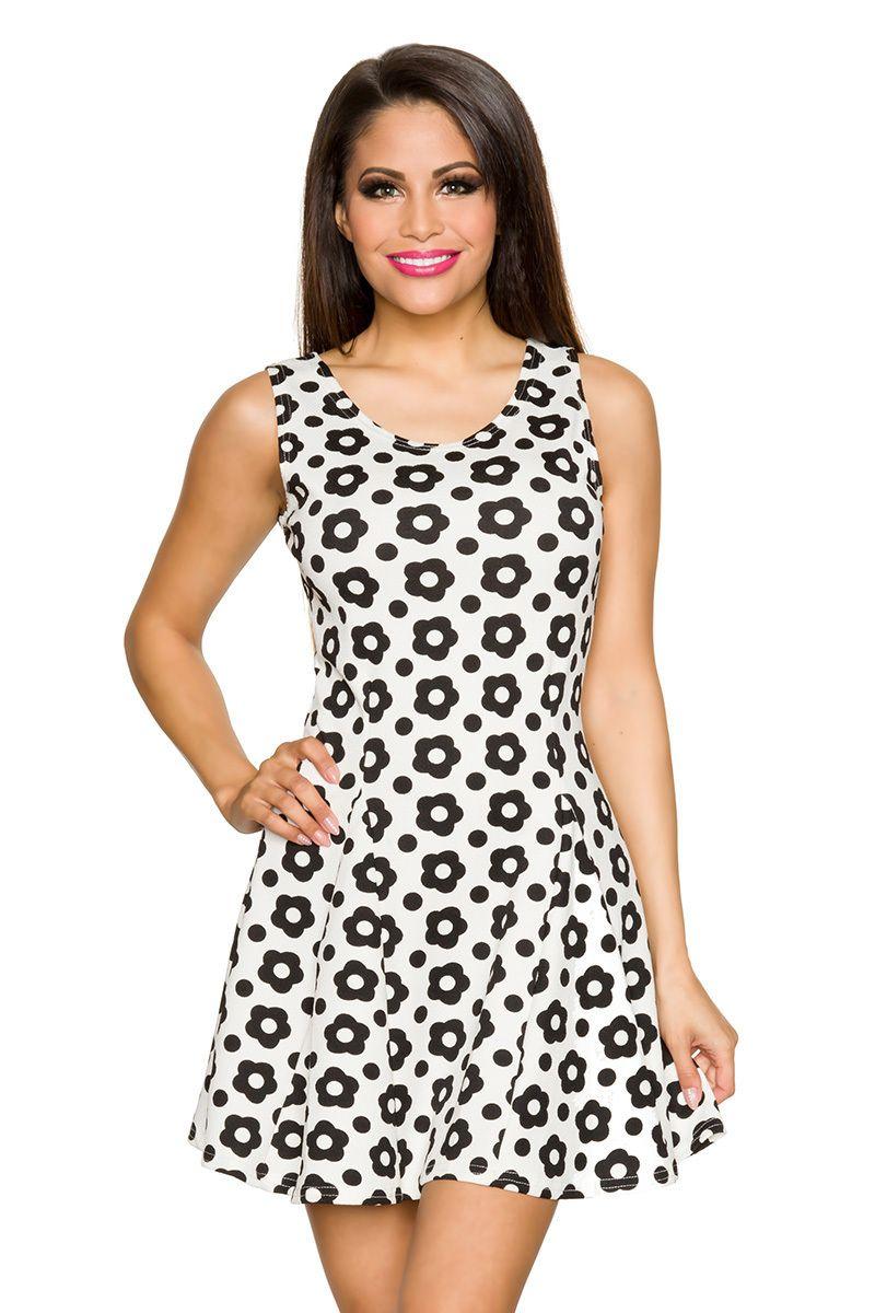 Retro-Kleid creme/schwarz | Sommerkleider | Kleider & Röcke | BEKLEIDUNG | FRAUEN | 701 FASHION