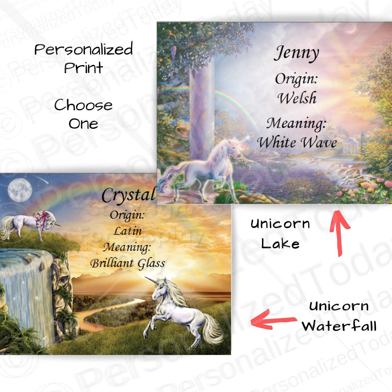 Unicorn Print Name Meaning Origin Art Personalized ...