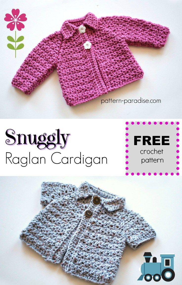 Free Crochet Pattern: Snuggly Raglan Cardigan | crochet Accessories ...