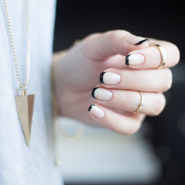 Tumblr French noire et nude | Creative Nails | Pinterest | Nude ...