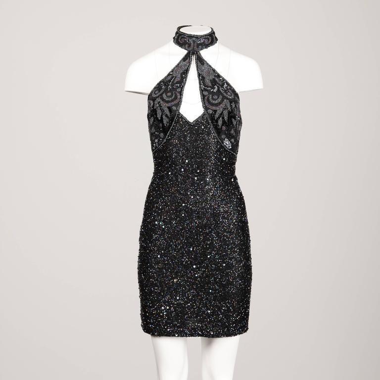 06673e116b8 Naeem Khan Riazee Vintage Sexy Cut Out Metallic Beaded Cocktail Dress 2