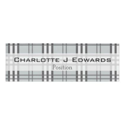 Grayscale Tartan Pattern Name Tag - pattern sample design template ...