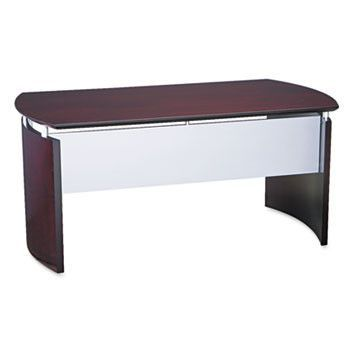 Napoli Series Wood Veneer 63w Desk Top With Modesty Panel, Mahogany