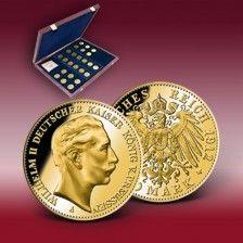 Komplett Set Originale Goldmunzen Kaiser Wilhelm Ii Pragung
